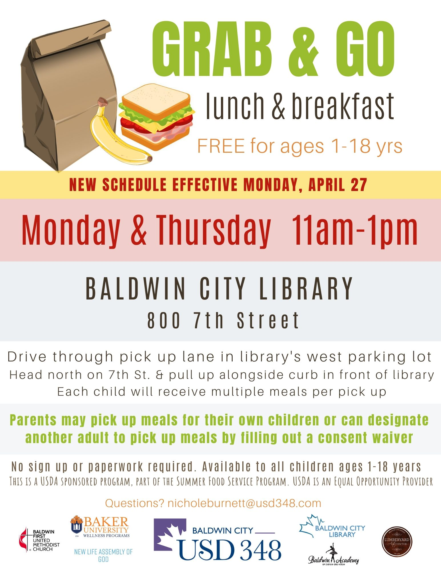 Grab and Go Lunch and Breakfast Baldwin City Library Monday and Thursday 11am-1pm